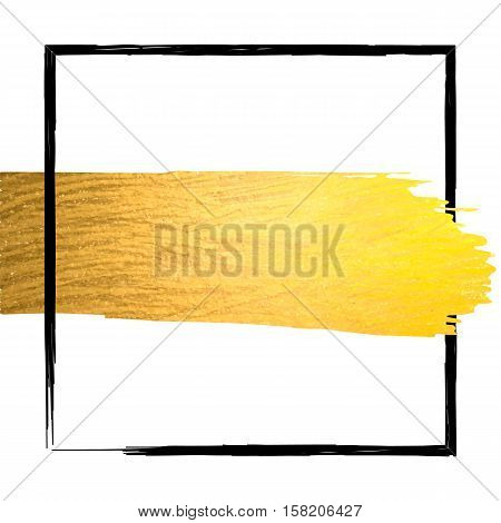 Golden paint stroke with black border frame and place for text. Hand made abstract gold glitter texture for stylist artist or beauty salon. Vector EPS10 illustration.