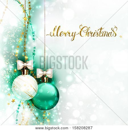 Christmas evening balls with white bows and golden garlands. Merry Christmas gold lettering on the shine glimmered background.