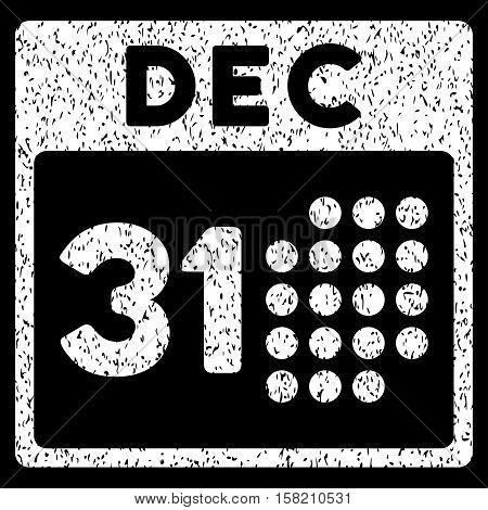 Last Year Day grainy textured icon for overlay watermark stamps. Flat symbol with dirty texture. Dotted vector white ink rubber seal stamp with grunge design on a black background.