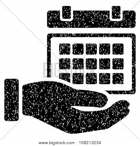 Service Timetable Hand grainy textured icon for overlay watermark stamps. Flat symbol with dust texture. Dotted vector black ink rubber seal stamp with grunge design on a white background.
