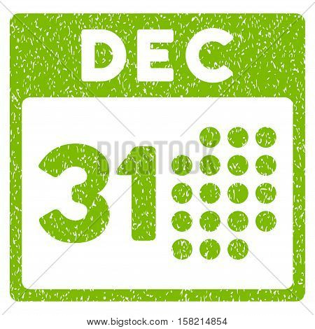 Last Year Day grainy textured icon for overlay watermark stamps. Flat symbol with unclean texture. Dotted vector eco green ink rubber seal stamp with grunge design on a white background.