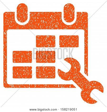 Configure Timetable grainy textured icon for overlay watermark stamps. Flat symbol with unclean texture. Dotted vector orange ink rubber seal stamp with grunge design on a white background.
