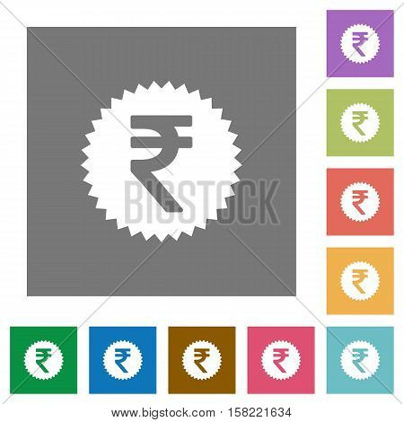 Indian Rupee sticker flat icons on simple color square background.