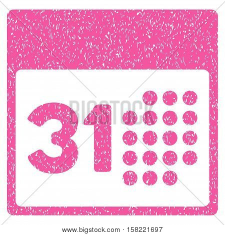 Last Month Day grainy textured icon for overlay watermark stamps. Flat symbol with dust texture. Dotted vector pink ink rubber seal stamp with grunge design on a white background.