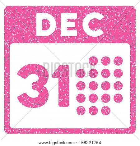 Last Year Day grainy textured icon for overlay watermark stamps. Flat symbol with dust texture. Dotted vector pink ink rubber seal stamp with grunge design on a white background.