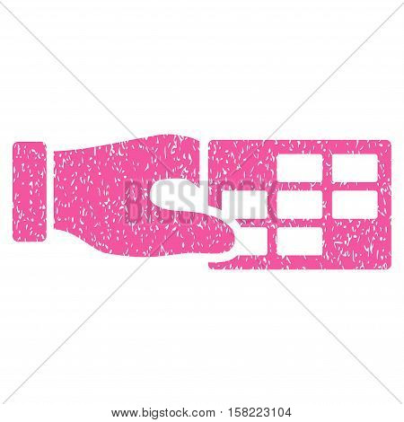 Timetable Properties grainy textured icon for overlay watermark stamps. Flat symbol with scratched texture. Dotted vector pink ink rubber seal stamp with grunge design on a white background.