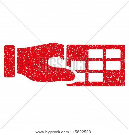 Timetable Properties grainy textured icon for overlay watermark stamps. Flat symbol with dirty texture. Dotted vector red ink rubber seal stamp with grunge design on a white background.