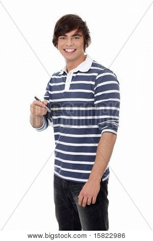 Young man with a pen. Isolated on white background.