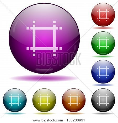 Adjust canvas size color glass sphere buttons with sadows.