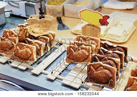 Seoul South Korea - March 14 2016: Bakery with beans in Myeongdong open street market in Seoul South Korea