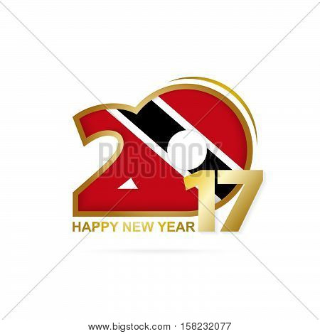 Year 2017 With Trinidad And Tobago Flag Pattern. Happy New Year Design On White Background.