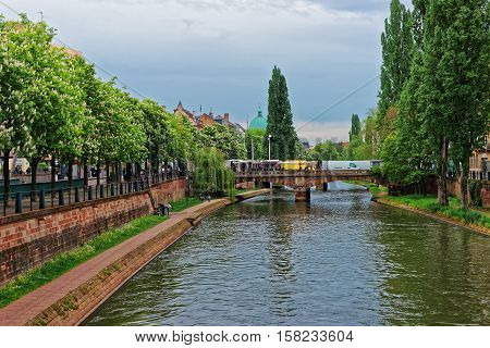 Bridge Over Canal Du Faux Rempart In Strasbourg In France