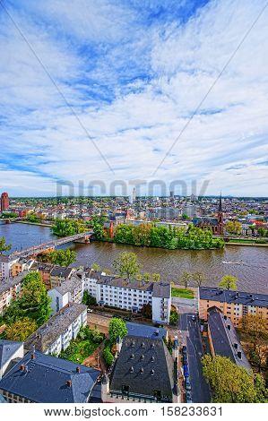 Bridge Over Main River In Frankfurt Am Main