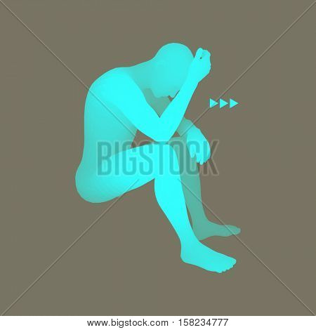 Man Thinks about a Problem. Despair, Depression, Hopelessness, Addiction Concept. 3D Model of Man. Vector Illustration.