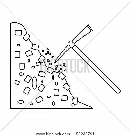 Pickaxe icon in outline style isolated on white background. Mine symbol vector illustration.