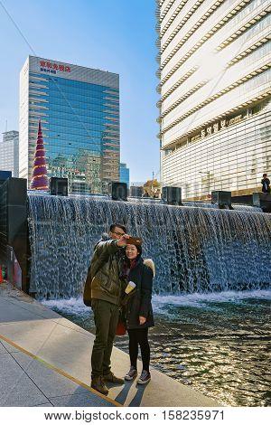 Cheonggye Stream And Public Walkway In Seoul