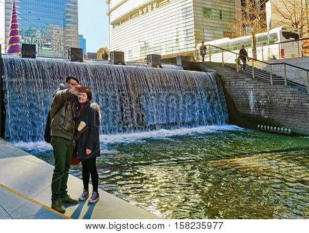 Cheonggye Stream And Public Walkway Of Seoul