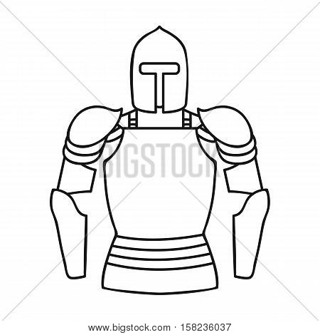 Plate armor icon in outline style isolated on white background. Museum symbol vector illustration.