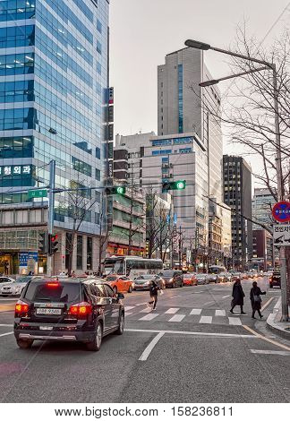 City Life With Pedestrian Crossing And Skyscrapers In Jung District Seoul