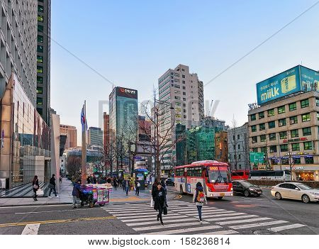 City Life With Pedestrians And Skyscrapers In Jung District Seoul