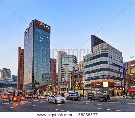 City Life With Traffic And Skyscrapers In Jung District Seoul