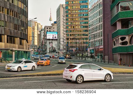 City Life With Traffic Of Jung District Seoul