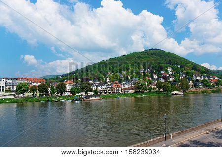 Embankment Of Neckar River In Heidelberg In Germany