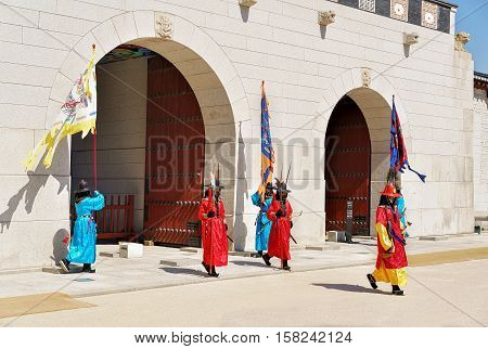 Guards While Changing Guard Ceremony Near Gyeongbokgung Palace In Seoul