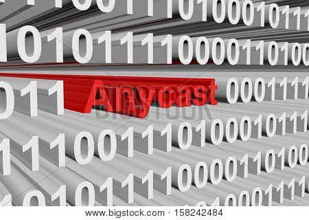 Anycast in the form of binary code, 3D illustration