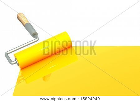 Platen painting with an yellow paint. Isolated over white