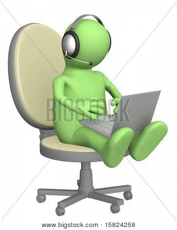 3d puppet, sitting on chair with a laptop - dialogue in the Internet