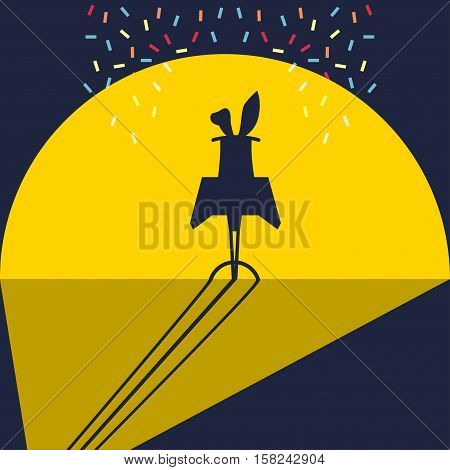 Rabbit in the hat Vector illustration Silhouette of rabbit ears sticking out of the cylinder under the spotlight during the show flat design