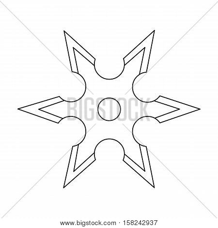 Metal shuriken icon outline. Single weapon icon from the big ammunition, arms outline.