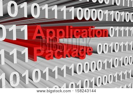application package submitted in the form of binary code 3d illustration