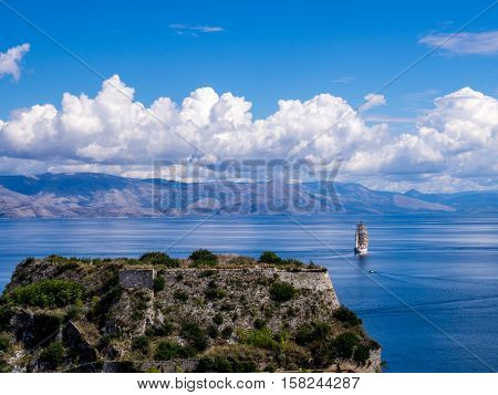Old fortress in Kerkyra on Corfu Greek island