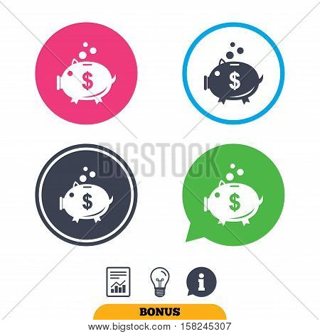 Piggy bank sign icon. Moneybox dollar symbol. Report document, information sign and light bulb icons. Vector