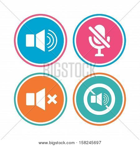 Player control icons. Sound, microphone and mute speaker signs. No sound symbol. Colored circle buttons. Vector