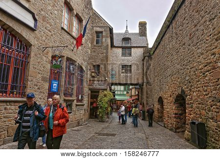 Mont Saint Michel In Normandy Of Manche In France