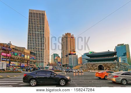Namdaemum Gate And Traffic In Jung District In Seoul