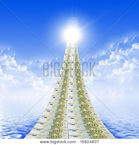 The road from banknotes disappearing into a bright blue sky. symbol of success