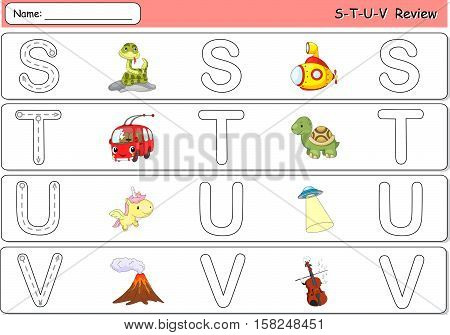 Cartoon Snake, Submarine, Trolleybus, Turtle, Unicorn, Ufo, Volcano And Violin. Alphabet Tracing Wor