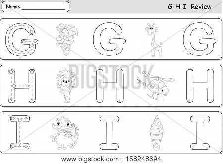 Cartoon Grapes, Giraffe, Hedgehog, Helicopter, Ice Cream And Iguana. Alphabet Tracing Worksheet