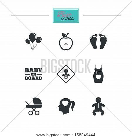 Pregnancy, maternity and baby care icons. Air balloon, baby carriage and pacifier signs. Footprint, apple and newborn symbols. Black flat icons. Classic design. Vector