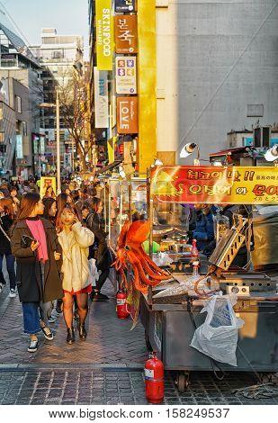 People At Myeongdong Open Street Market In Seoul