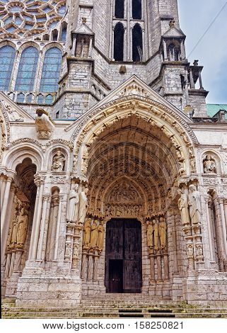 Portal Of Cathedral Of Our Lady Of Chartres Of France