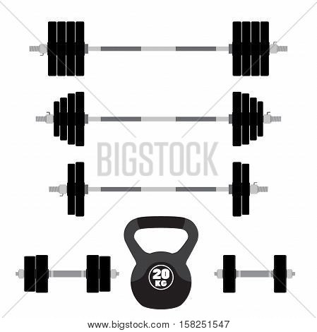 Sports equipment for fitness, crossfit, gym. Barbells dumbbells weight lifting