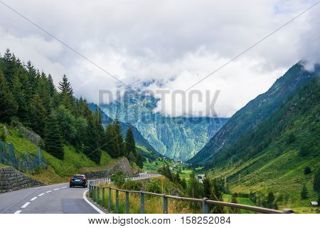 Roadway At Lauterbrunnen Valley In Interlaken Oberhasli Bern Canton Switzerland
