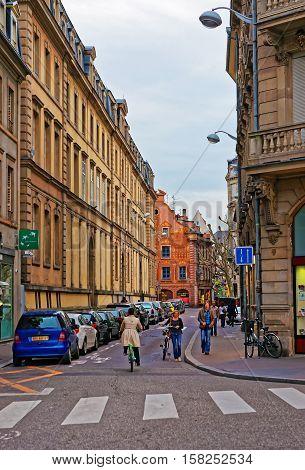 Rue De Etudiants Street In Strasbourg In France
