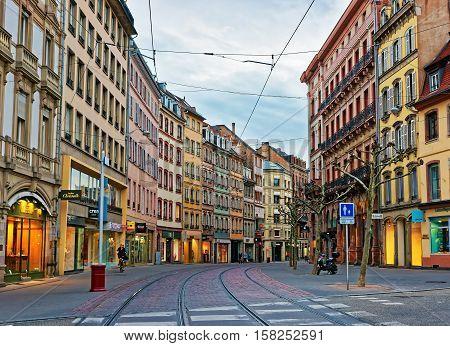 Rue De La Mesange Street In Strasbourg In France