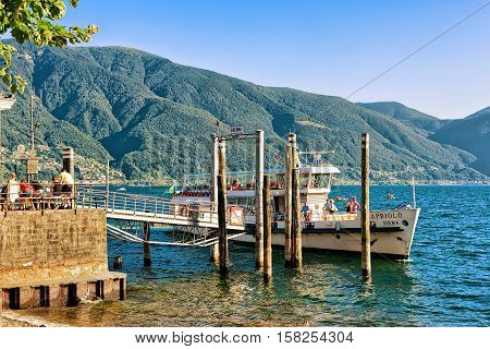Ship With Tourists In Ascona Of Ticino In Switzerland